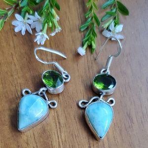 Sterling Silver 925 Blue Green Stone Drop Earrings